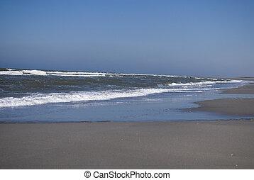 mooi, hollandse, strand, in, zomertijd