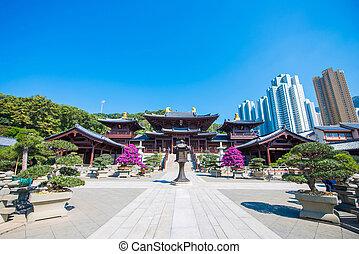 mooi, hong, nonnenklooster, chi, lin, kong, bekende plaats, kowloon, tempel