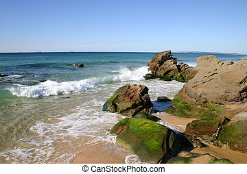 mooi, hoofd, australië, botsing, zonnig, golven, -, rotsen, newcastle, kleine, strand, dag, rood