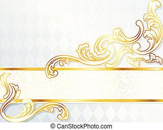 mooi, horizontaal, rococo, spandoek, trouwfeest