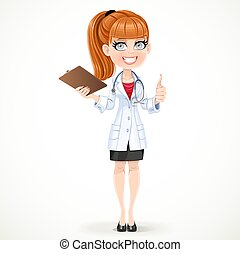 mooi, houden, arts, jas, medisch, vrijstaand, hand omhoog, geschiedenis, duimen, achtergrond, tafel, meisje, document, witte , gebaar, optredens