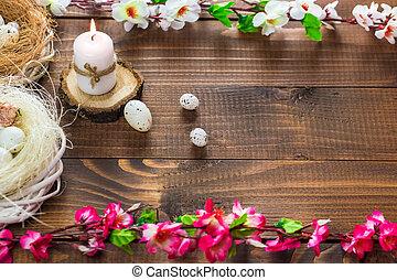mooi, houten, eitjes, achtergrond, bloemen, pasen
