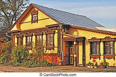 mooi, houten, landhuis