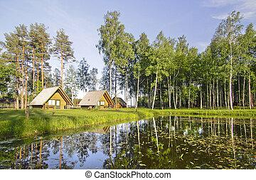 mooi, huisen, natuur, aanzicht