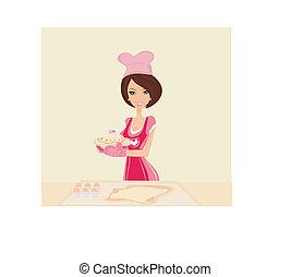 mooi, huisvrouw, het koken, cakes