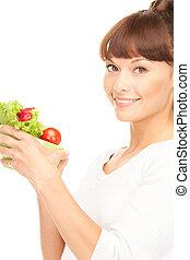 mooi, huisvrouw, met, groentes