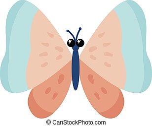 mooi, illustratie, witte , vlinder, vector, achtergrond.