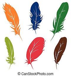 mooi, illustration., veertjes, vrijstaand, achtergrond., vector, witte , vogels
