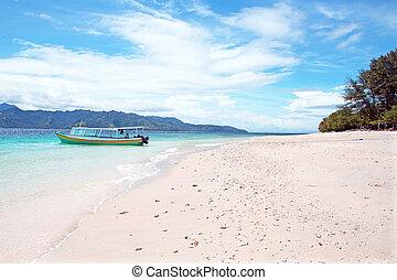 mooi, indonesia., meno, strand, gili