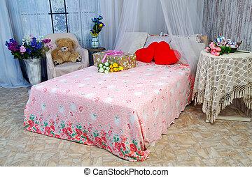 mooi, interieur, kamer, bed