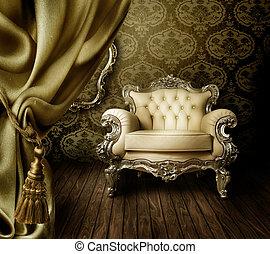 mooi, interieur, oud, gestyleerd