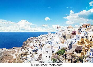 mooi, island., hemel, tegen, santorini, griekenland, wolken, landscape