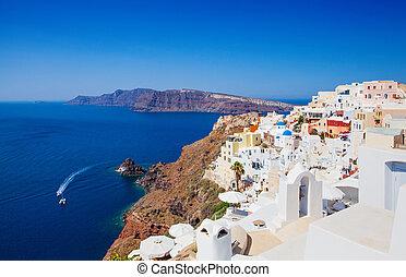 mooi, island., santorini, landscape, griekenland, caldera