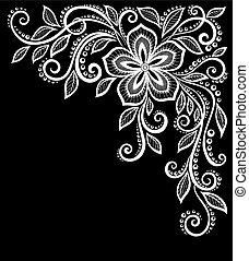 mooi, isolated., bladeren, black , monochroom, witte bloemen