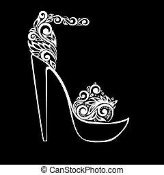 mooi, isolated., ornament, sandalen, black , floral, monochroom, witte , verfraaide