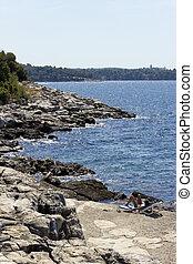 mooi, istria, middellandse zee, -, kust, schiereiland, landscape, adriatisch, kroatië, sea., strand, porec