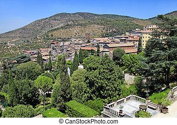 mooi, italië, tuscany, dorp, oud, landscape