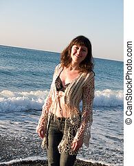 mooi, jeans, bikini, de dame van het strand