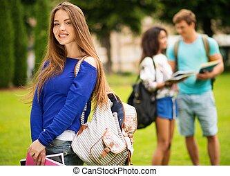 mooi, jong meisje, student, in, een, stad park, op, zomer dag