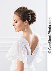 mooi, jonge, back, bruid, witte kleding, aanzicht