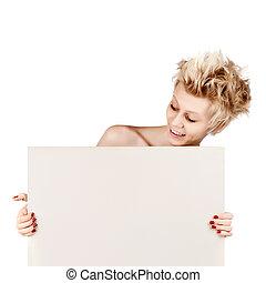 mooi, jonge, blonde , meisje, vasthouden, leeg, witte , meldingsbord, met, kopie, space.