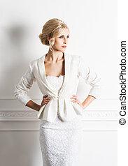 mooi, jonge, bruid, het poseren, retro, interieur, witte...