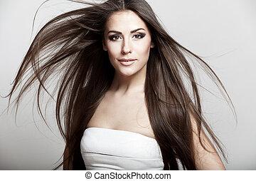 mooi, jonge, brunette, vrouw, met, langharige