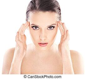 mooi, jonge dame, met, gezonde , schoonmaken, huid