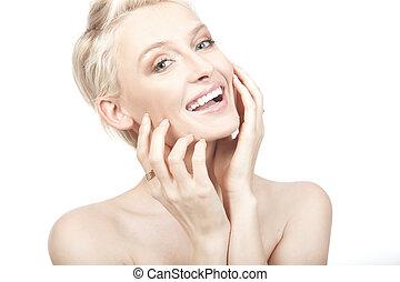 mooi, jonge, het glimlachen, woman., vrijstaand, op, witte achtergrond