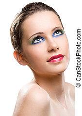 mooi, jonge, makeup, model.