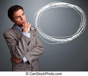 mooi, jonge man, denken, over, toespraak, of, gedachte bel,...