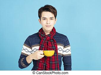 mooi, jonge man, vervelend, winter kleren