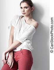 mooi, jonge, mode, meisje, model, het poseren