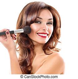 mooi, jonge vrouw , aan het dienen, makeup., brunette, meisje