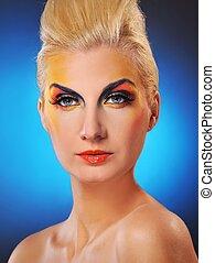 mooi, jonge vrouw , close-up, verticaal