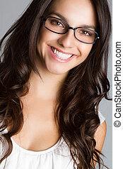 mooi, jonge vrouw , het voeren bril
