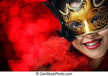 mooi, jonge vrouw , in, kermis masker