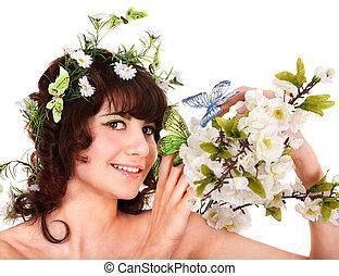 mooi, jonge vrouw , met, bloem, en, butterfly.