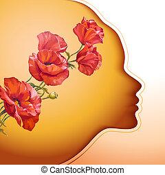 mooi, jonge vrouw , met, bloemen