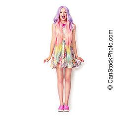 mooi, jonge vrouw , met, een, lang, kleurrijke, hair., vol lengte portret