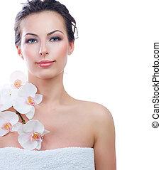mooi, jonge vrouw , met, fris, gezonde , skin., spa