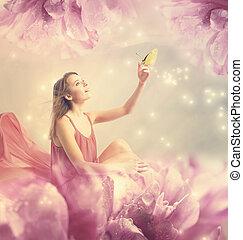 mooi, jonge vrouw , met, kleine, vlinder