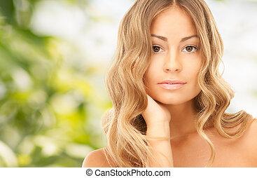 mooi, jonge vrouw , met, naakte schouders