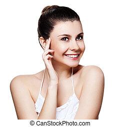 mooi, jonge vrouw , met, schoonmaken, huid, van, de, face., mooi, vrouwlijk, het poseren, op wit, achtergrond