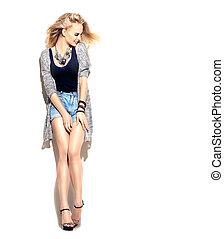 mooi, jonge vrouw , posing., ongedwongen, style., vrijstaand, op wit