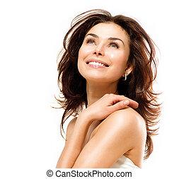 mooi, jonge, vrouwlijk, verticaal, vrijstaand, op, white.,...