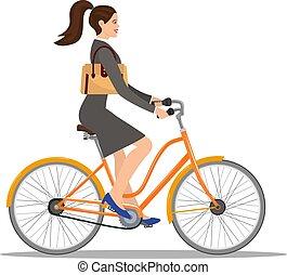mooi, jurkje, vrouw, fiets, ritten