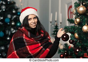 mooi, kamer, boompje, op, speelgoed, meisje, jurkje, kerstmis