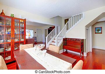 mooi, kamer, trap, kers, floor., het dineren