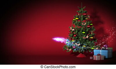 mooi, kerstboom, met, kadootjes